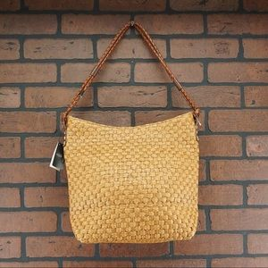 PANCANI Made in Italy Woven Straw Shoulder Tote